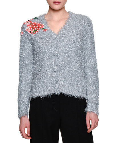 Floral-Embroidered Tinsel Cardigan, Silver