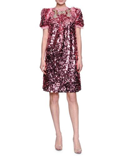 Sequined Short-Sleeve Finale Dress, Pink