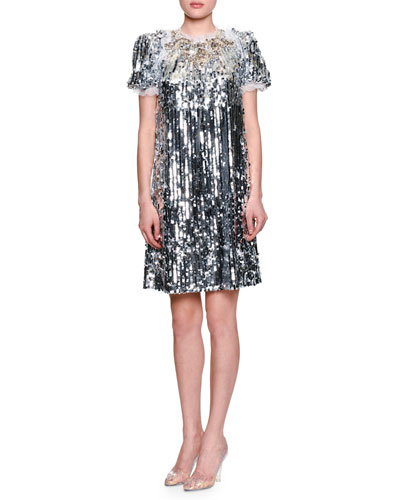Sequined Short-Sleeve Finale Dress, Silver