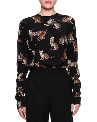 Long-Sleeve Cat-Print Blouse, Black/Multi