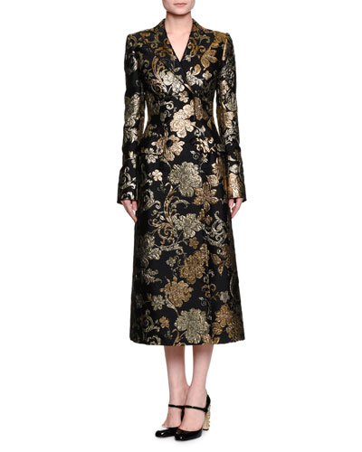 Double-Breasted Brocade Topcoat, Black/Gold