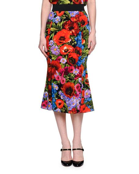 Flared Floral-Print Midi Skirt, Multi