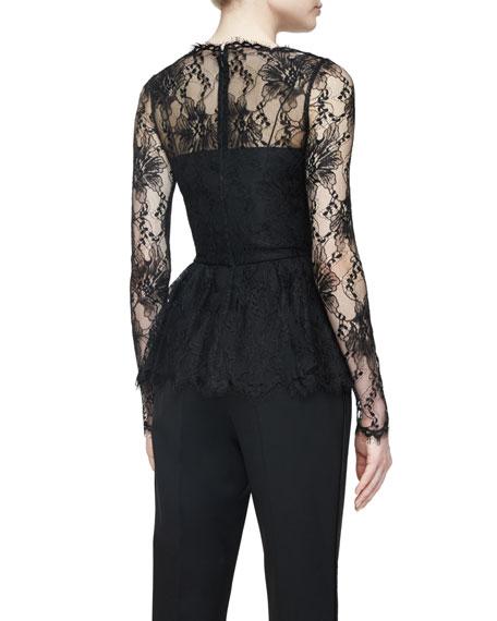 Long-Sleeve Lace Peplum Top, Black