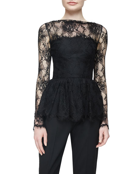 Long-Sleeve Lace Peplum Top, Black