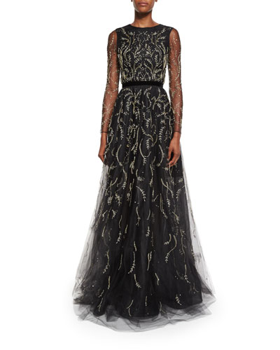Embroidered Tulle Illusion Gown, Black/Gold