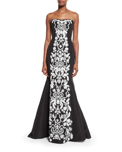Strapless Faille Mermaid Gown w/Contrast Embroidery, Black/White