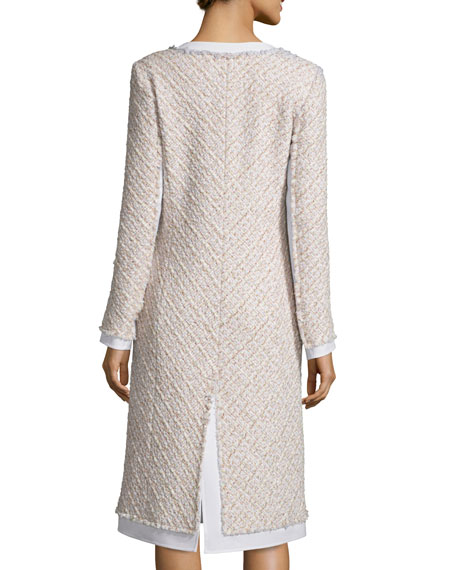 Collarless Paneled Tinsel Tweed Coat, Pink/Gray