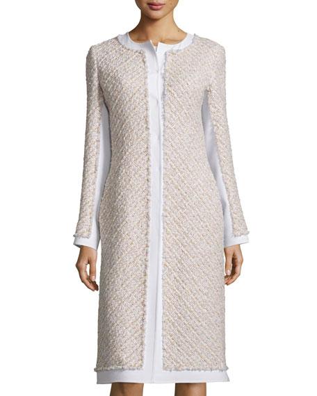 Collarless Paneled Tinsel Tweed Coat, Pink/Gray