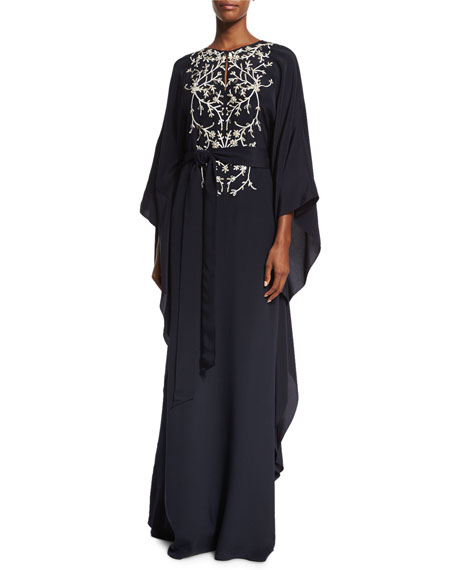 Embroidered Silk Caftan Gown, Navy