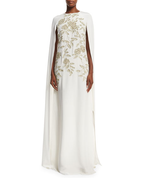 Floral-Embroidered Silk Caftan Gown, Ivory