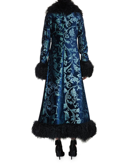Long Brocade Coat w/Shearling Fur Trim, Petrol Blue