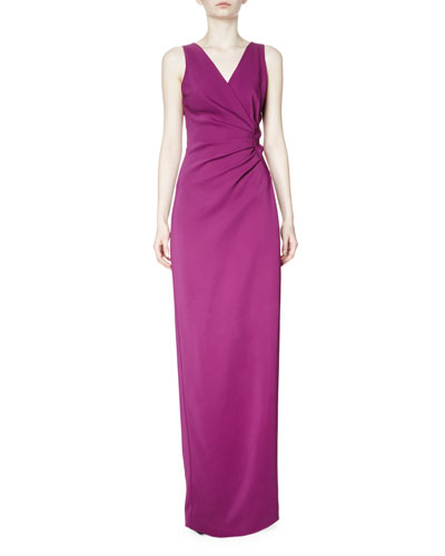 Sleeveless Faux-Wrap Jersey Gown, Raisin