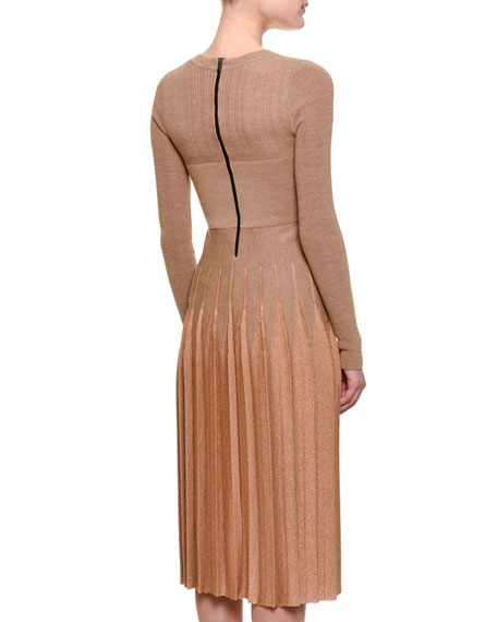 Long-Sleeve Pleated Knit Dress, Camel/Rose Gold