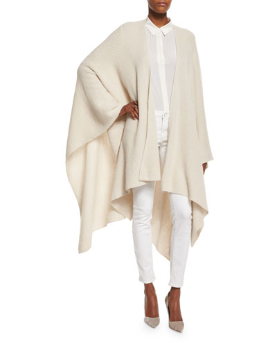 Long Cashmere Ribbed Sweater Cape, Pearl
