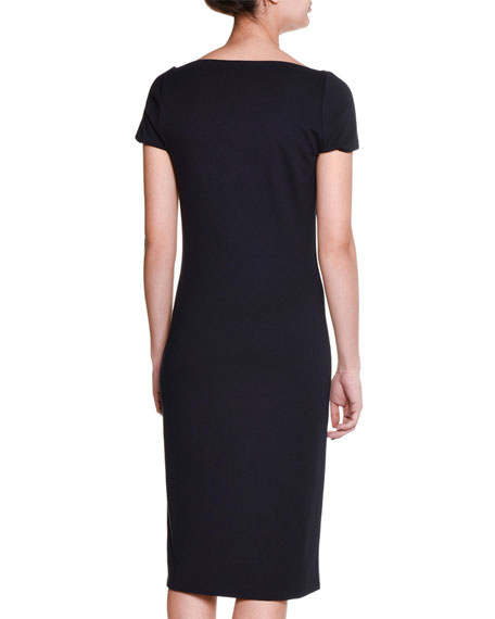 Cap-Sleeve Belted Sheath Dress, Blazer