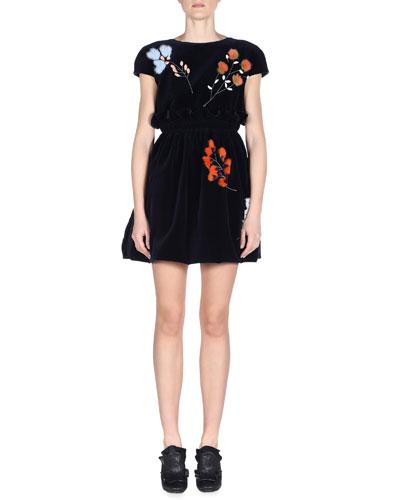 Cap-Sleeve Mini Dress W/Fur Flowers, Lapis/Lazuli