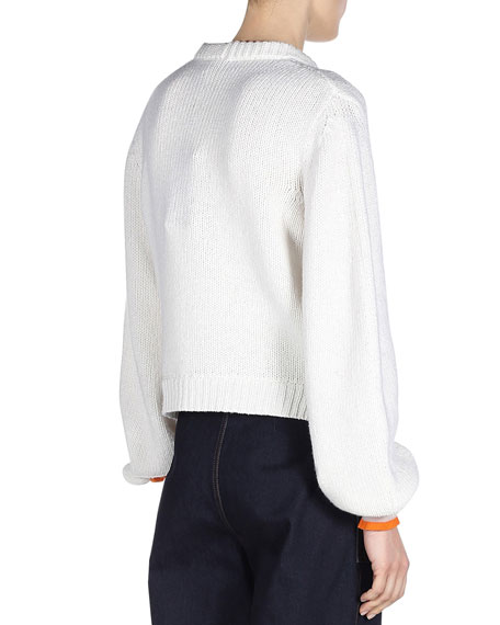 Cashmere Sweater w/Mink Fur Pompoms, White