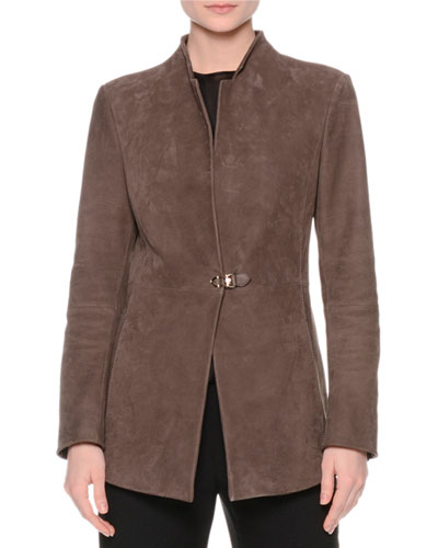 Suede One-Closure Jacket, Brown