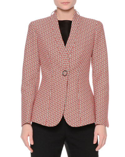 Geometric Jacquard One-Button Jacket, Fantasia