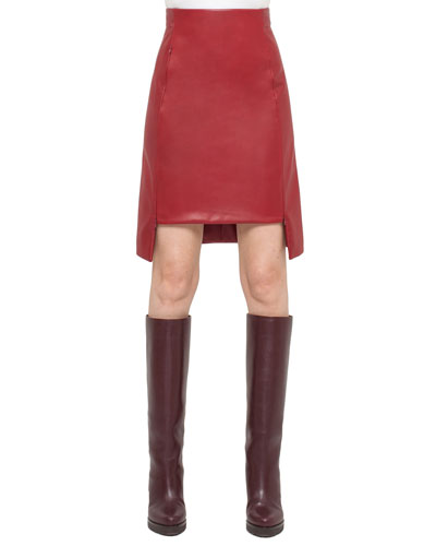 Napa Leather High-Low Skirt, Miracle Berry