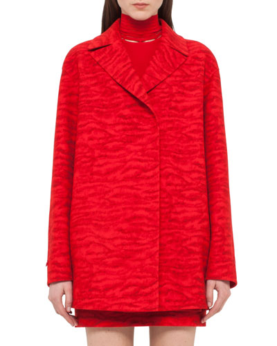 Double-Face Tiger-Stripe Coat, Red