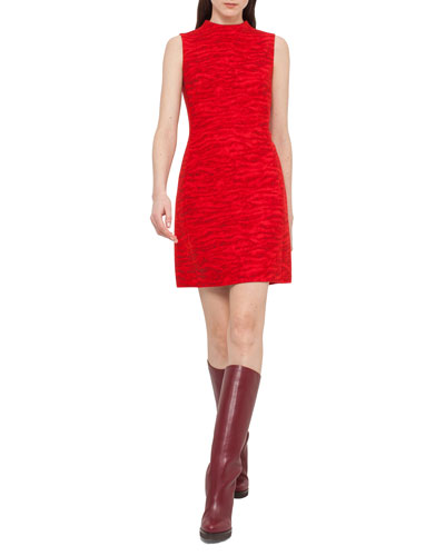 Mock-Neck Tiger-Stripe Sheath Dress, Red