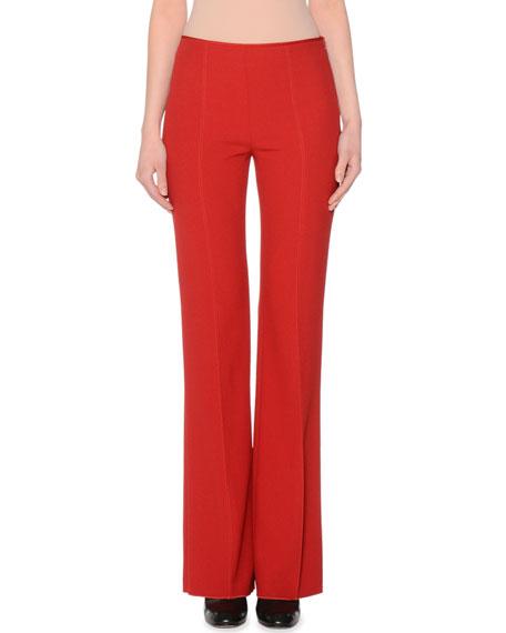 Side-Zip Flare-Leg Pants, Scarlet Red