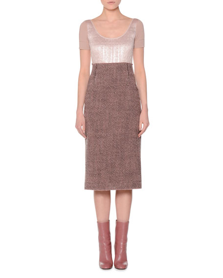 Short-Sleeve Tweed Jacquard Combo Dress, Rose/Taupe