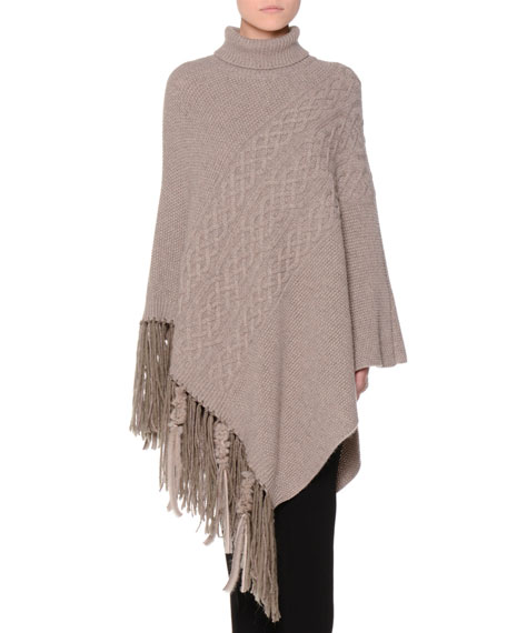 Cable-Knit Poncho with Fur Fringe Trim Taupe