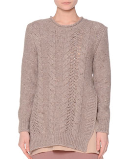 Vented Cable-Knit Pullover Sweater, Taupe/Multi