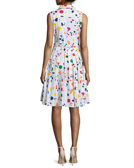 Claire Splatter-Print Sleeveless Shirtdress, White