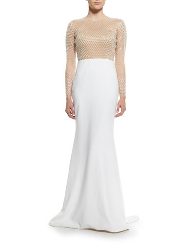 Long-Sleeve Embellished Illusion Combo Gown, Nude/White