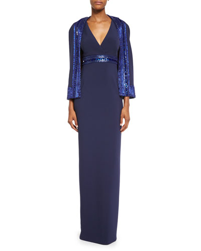 Crepe Column Gown w/Sequined Capelet, Navy