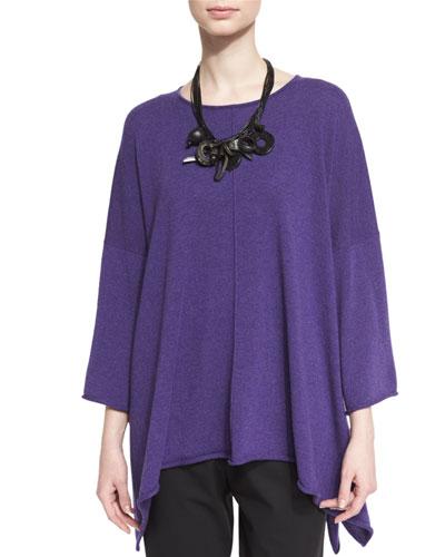 Bateau-Neck Bracelet-Sleeve Cashmere Sweater, Amethyst