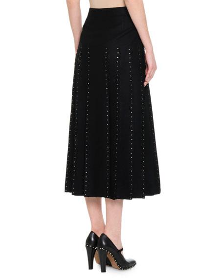 Calf-Length Pleated Skirt w/ Crystal-Edge Tulle Inserts, Black