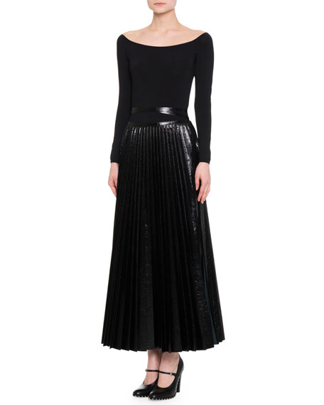 Pleated Leather Tie-Waist Skirt, Black