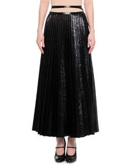 Pleated Leather Tie-Waist Skirt, Black