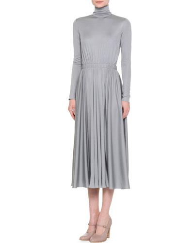 Long-Sleeve Silk Jersey Turtleneck Dress, Gray