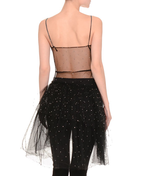 Embellished Tulle Wrap-Front Illusion Top, Black