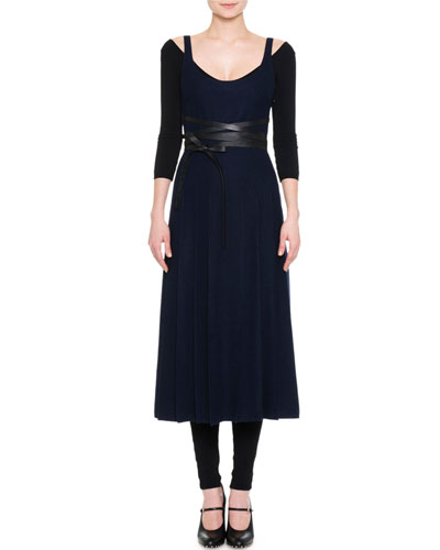 Sleeveless Scoop-Back Pleated Dress, Navy
