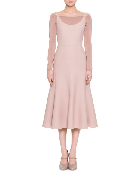 Sleeveless Flared Scoop-Neck Dress, Pink