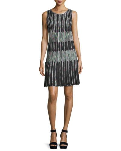 Optical Pleated Shift Dress, Black/Multi