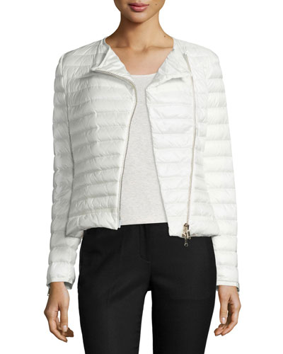 Amey Quilted Collarless Puffer Jacket, White