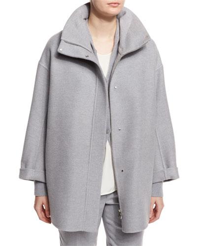 Ralph Double-Face Cashmere Coat, Powder Angel Melange