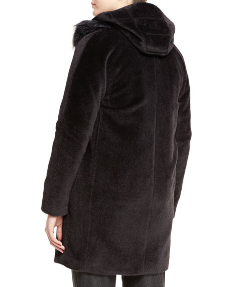 Fox-Collar Baby Alpaca Coat, Fur Caviar