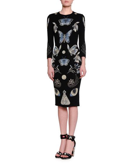d1331075a6a Alexander McQueen 3 4-Sleeve Butterfly Knit Pencil Dress