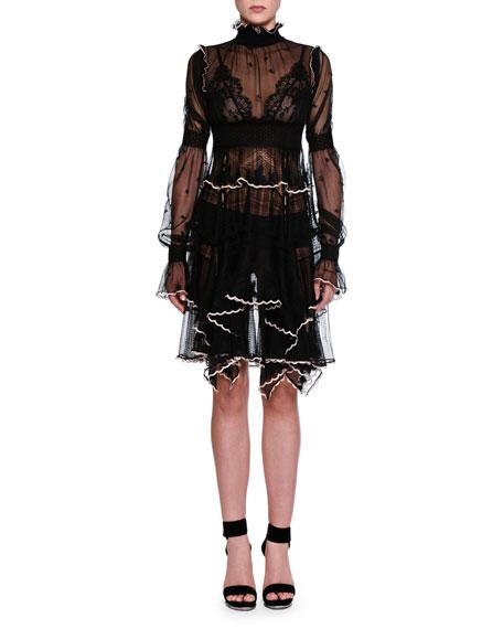 Long-Sleeve Turtleneck Lace Dress, Black/Tulle