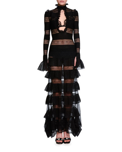 Long-Sleeve Tiered Ruffle High-Neck Gown, Black