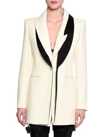 Alexander McQueen Wool Jacket w/Two-Tone Lapel, White/Black