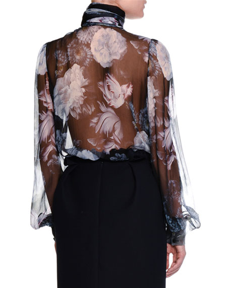 Floral Chiffon Tie-Neck Blouse, Black
